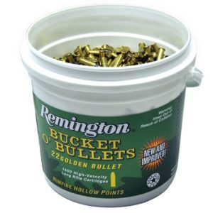 REMINGTON GOLDEN BULLET HIGH VELOCITY BUCKET O'BULLETS 22LR 36 GRAIN BRASS 1400 ROUND BOX 1622B